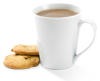 Image of a cup of tea with two biscuits